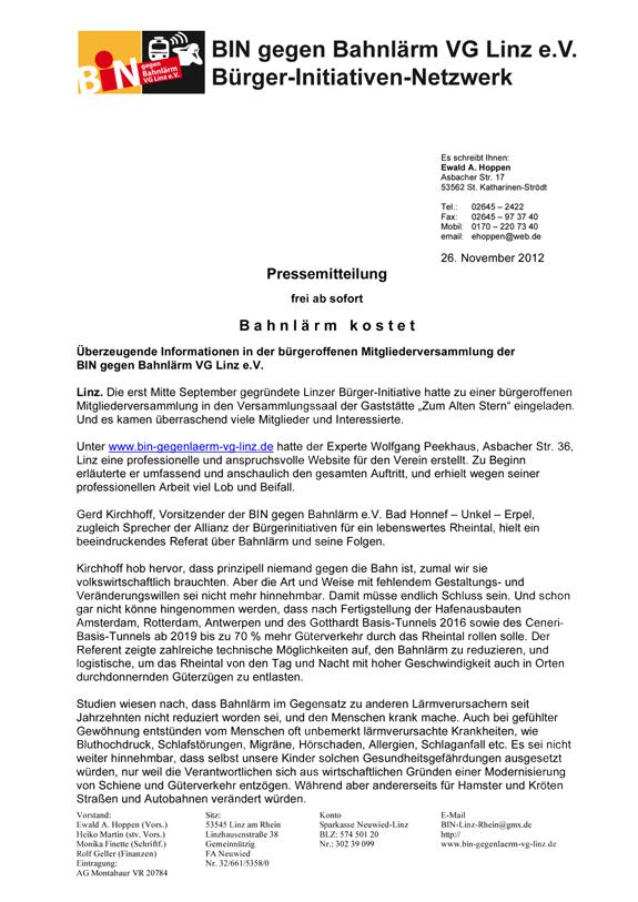 Pressemitteilung BIN