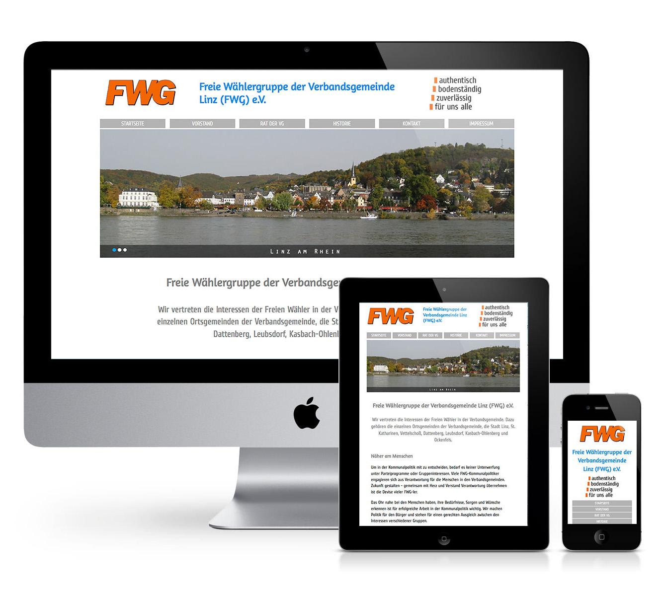 Startseite der FWG VG LINZ