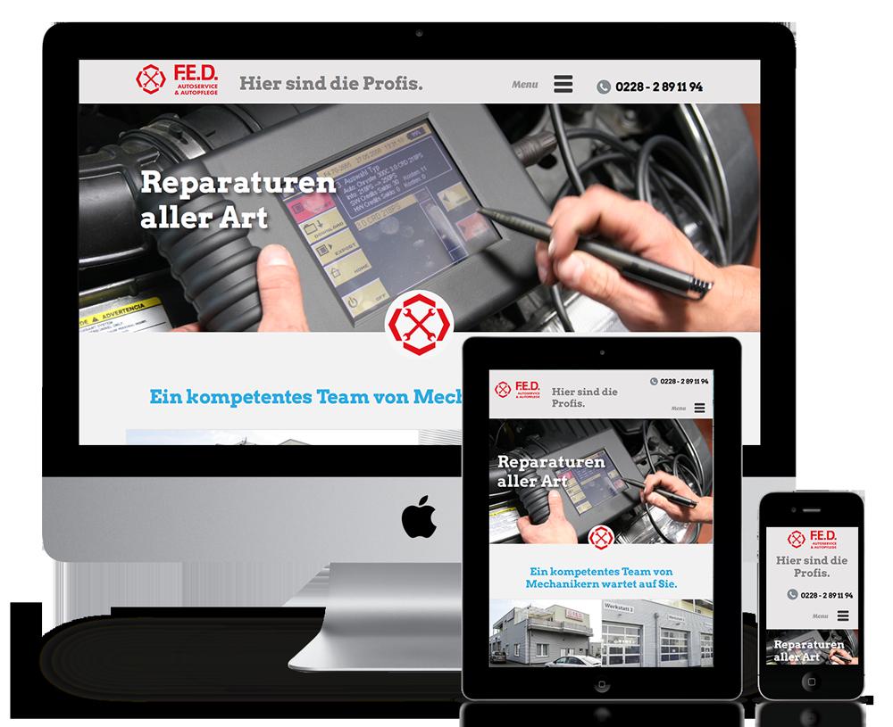 Responsive Webdesign für F.E.D. Autoservice Bonn
